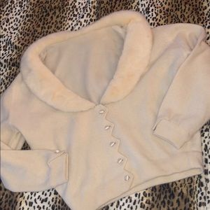 Vintage sweater fur cashmere cream small medium